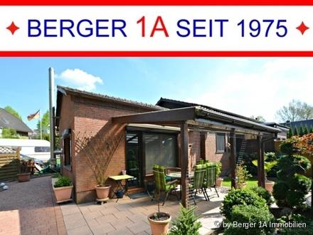 MOD. BUNGALOW - seniorengerecht - mit GARAGE, SAUNA, Kaminofen, 3-Zi., Designer-Bad, überd. Terrasse