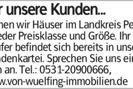 suchen wir Häuser im Landkreis Peine in jeder Preisklasse und Größe. Ihr...