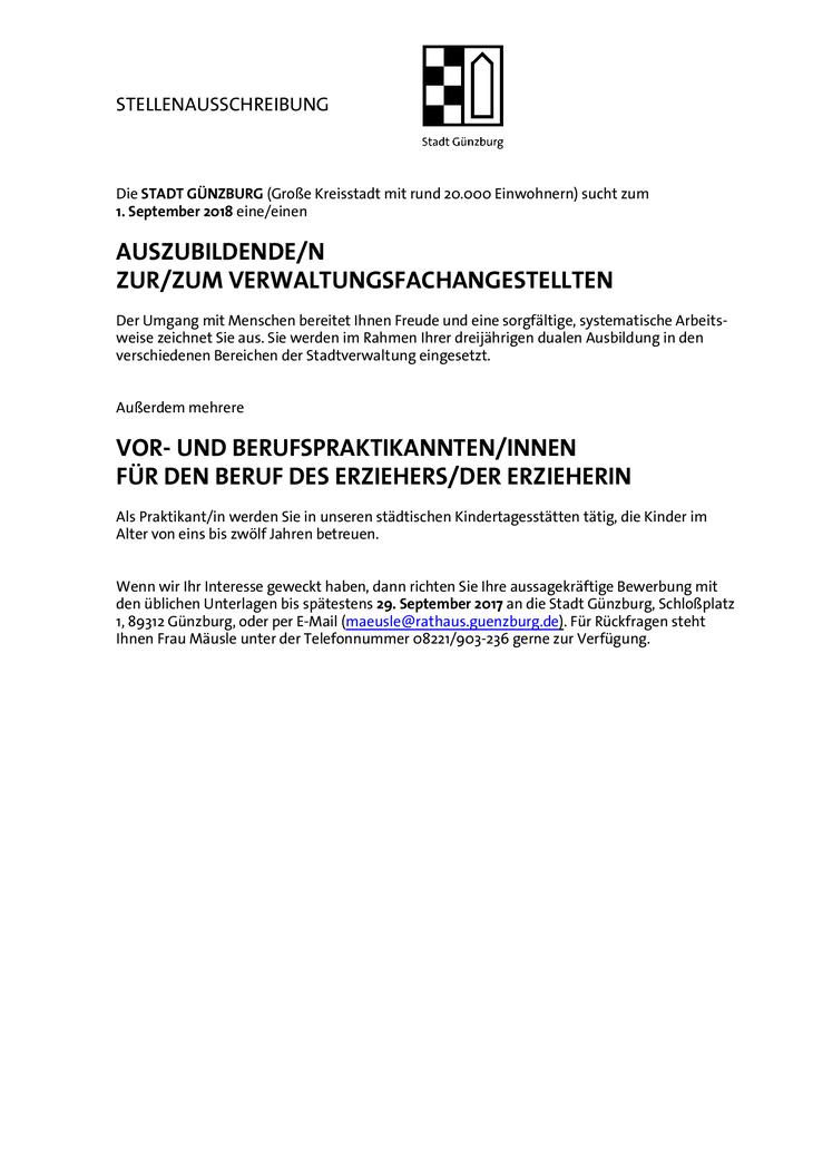 Die STADT GÜNZBURG (Große Kreisstadt mit rund 20.000 Einwohnern) sucht zum 1. September 2018 eine/einen  AUSZUBILDENDE/N ZUR/ZUM VERWALTUNGSFACHANGESTELLTEN