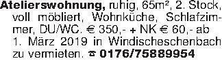 Atelierswohnung, ruhig, 65m²,...