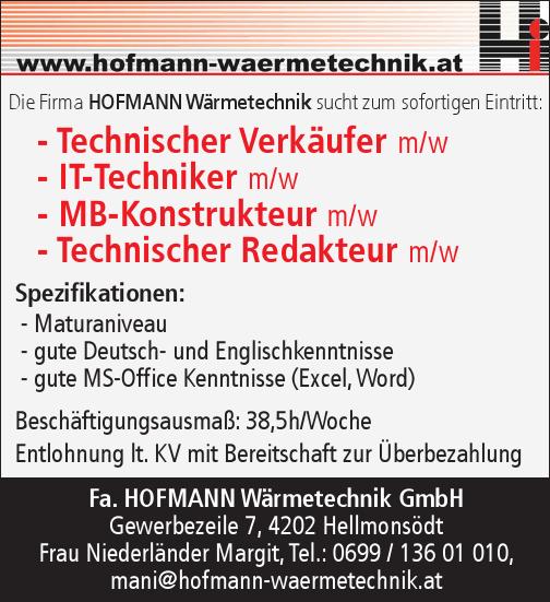 Die Firma HOFMANN Wärmetechnik sucht zum sofortigen Eintritt:
