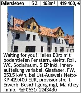 Fallersleben 5 Zi 163m² 419.400,-€ Waiting for you! Helles Büro mit bodentiefen...