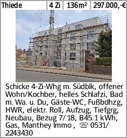 Thiede 4 Zi 136m² 297.000,-€ Schicke 4-Zi-Whg m. Südblk, offener Wohn/Kochber,...