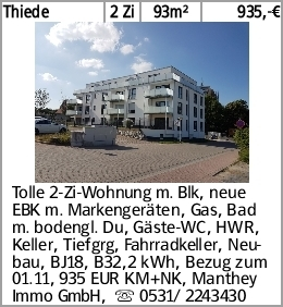 Thiede 2 Zi 93m² 935,-€ Tolle 2-Zi-Wohnung m. Blk, neue EBK m. Markengeräten,...