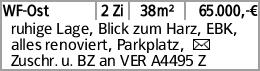 WF-Ost 2 Zi 38m² 65.000,-€ ruhige Lage, Blick zum Harz, EBK, alles renoviert,...