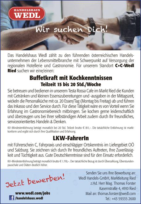 Das Handelshaus Wedl zählt zu den führenden österreichischen Handelsunternehmen der Lebensmittelbranche mit Schwerpunkt auf Versorgung der regionalen Hotellerie und Gastronomie. Für unserem Standort C