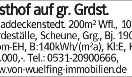 in Baddeckenstedt. 200m² Wfl., 10 Zi, Pferdeställe, Scheune, Grg., Bj....