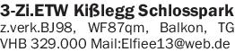 3-Zimmer ETW direkt am Schloßpark in Kisslegg zu verkaufen. VHB
