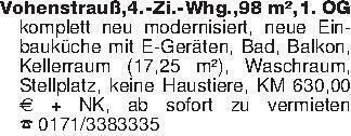 Vohenstrauß,4.-Zi.-Whg.,98 m²,...
