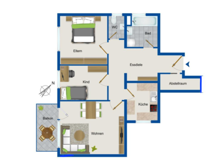 Vollständig renovierte 3-Zimmer-Wohnung mit Balkon und EBK in Freiberg am Neckar