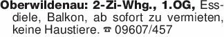 Oberwildenau: 2-Zi-Whg., 1.OG,...