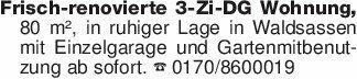 Frisch-renovierte 3-Zi-DG Wohn...