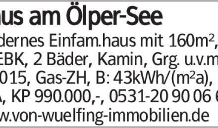 Haus am Ölper-See Modernes Einfam.haus mit 160m², 5 Zi, EBK, 2 Bäder, Kamin,...
