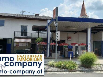 Tankstelle mit Stüberl—Werkstätte—Halle—Wohnungen