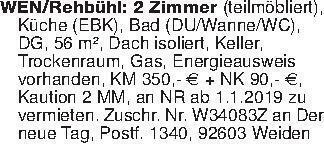 WEN/Rehbühl: 2 Zimmer (teilmö...