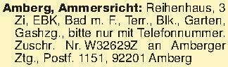 Amberg, Ammersricht: Reihenhau...