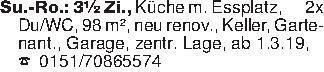 Su.-Ro.: 3½ Zi., Küche m. Essp...