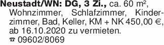Neustadt/WN: DG, 3 Zi., ca. 60...