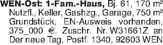 WEN-Ost: 1-Fam.-Haus, Bj. 61...