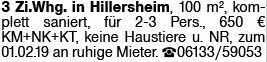 3-Zimmer Mietwohnung in Hillersheim (67586)