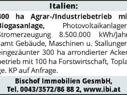 Italien: 400 ha Agrar-/Industriebrieb