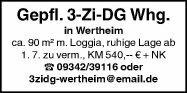 Wohnung 90m² in 97877 Wertheim