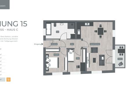 ZENTRAL. GRÜN. LEBENSWERT LANDSHUT 034 Haus C Nr.15 - 2.Obergeschoss 3-Zimmer