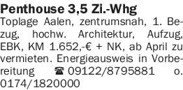 Vermietung 3-4 Zimmer-Wohnungen