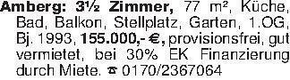 Amberg: 3½ Zimmer, 77 m², Küch...
