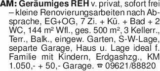 AM: Geräumiges REH v. privat,...
