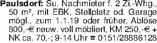 Paulsdorf: Su. Nachmieter f. 2...