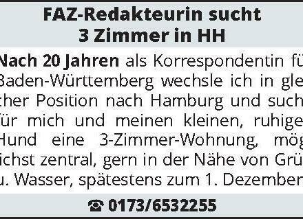 FAZ-Redakteurin sucht 3 Zimmer in HH