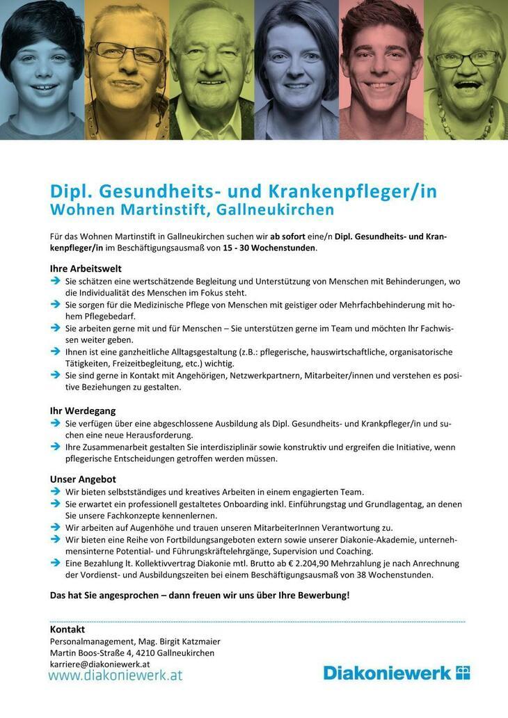 Für das Wohnen Martinstift in Gallneukirchen suchen wir ab sofort eine/n Dipl. Gesundheits- und Krankenpfleger/in