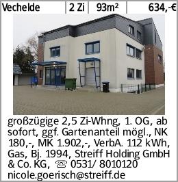 Vechelde 2 Zi 93m² 634,-€ großzügige 2,5 Zi-Whng, 1. OG, ab sofort, ggf....