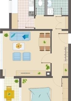 2 Zimmer Wohnung FN mit Garage, Balkon und Bergblick