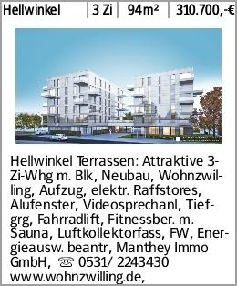 Hellwinkel 3 Zi 94m² 310.700,-€ Hellwinkel Terrassen: Attraktive 3-Zi-Whg...