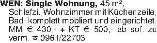 WEN: Single Wohnung, 45 m², S...