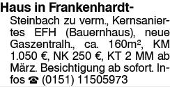 Haus in Frankenhardt Steinbach