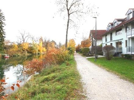 Helle 2,5 Zi.-Whg., eigener Südgarten, ruhige grüne Lage direkt an der Loisach, Wolfratshausen