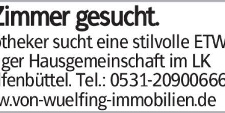 Apotheker sucht eine stilvolle ETW mit ruhiger Hausgemeinschaft im LK Wolfenbüttel....