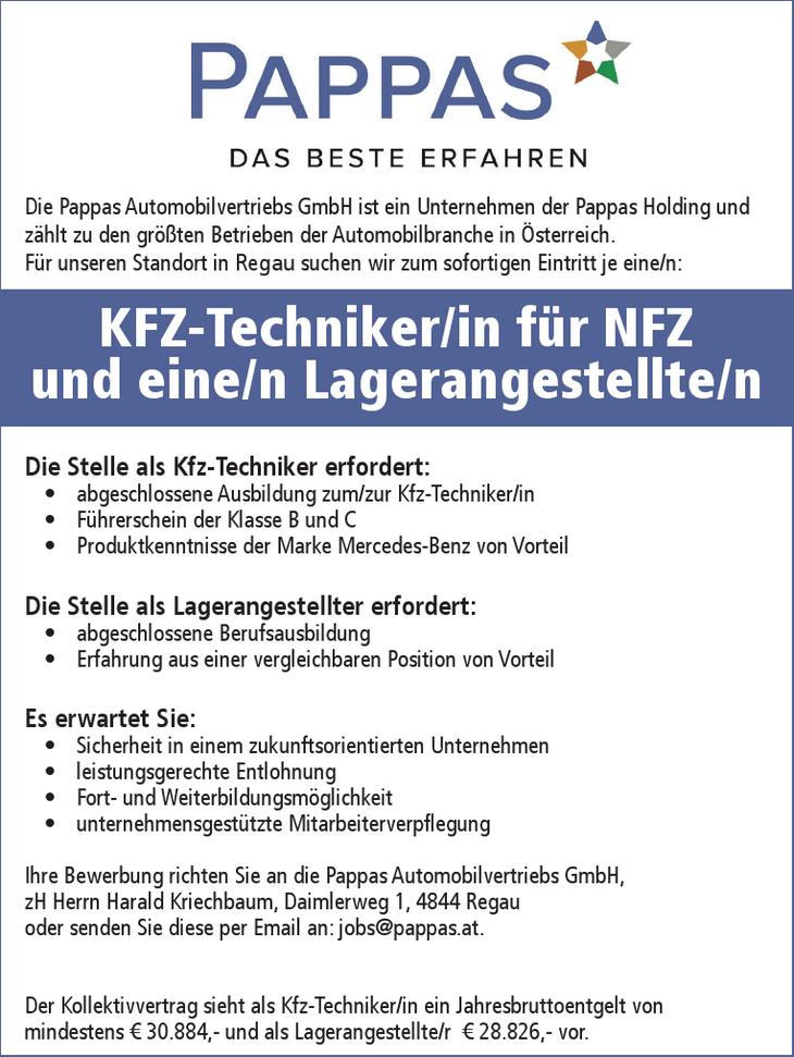 Die Pappas Automobilvertriebs GmbH ist ein Unternehmen der Pappas Holding und zählt zu den größten Betrieben der Automobilbranche in Österreich. Für unseren Standort in Regau suchen wir zum sofortigen