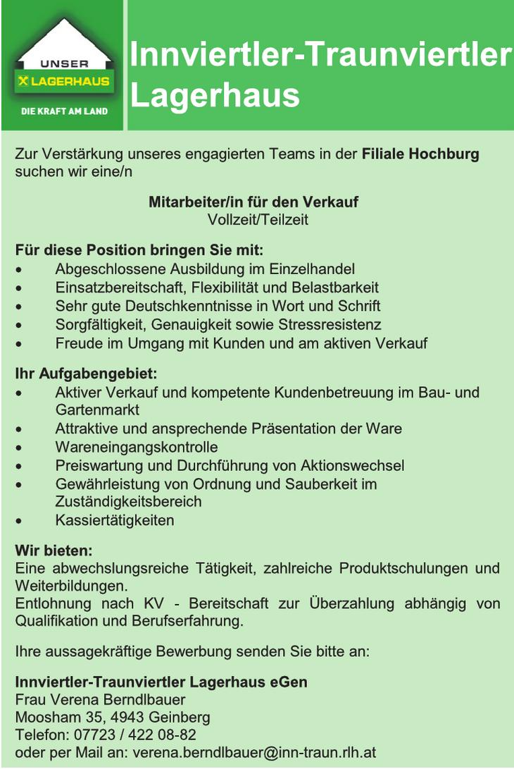 Zur Verstärkung unseres engagierten Teams in der Filiale Hochburg suchen wir eine/n Mitarbeiter/in für den Verkauf Vollzeit/Teilzeit