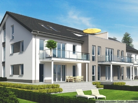 Gartenansicht des Neubaumehrfamilienhauses in Senne