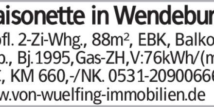 Maisonette in Wendeburg Gepfl. 2-Zi-Whg., 88m², EBK, Balkon, 2 Carp., Bj.1995,Gas-ZH,V:76kWh/(m²a),...
