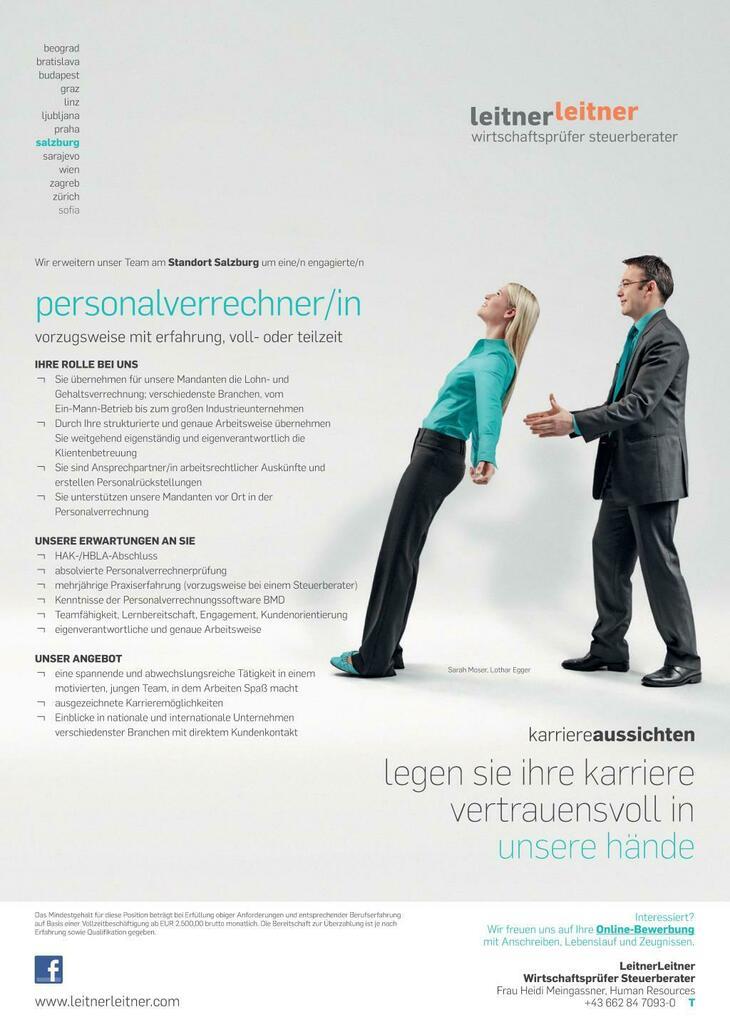 Wir erweitern unser Team am Standort Salzburg um eine/n engagierte/n Personalverrechner/in