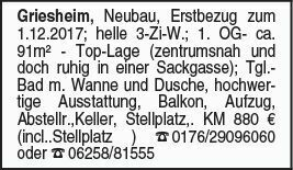 Griesheim 3-Zi Erstbezug