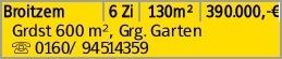 Broitzem 6 Zi 130m² 390.000,-€ Grdst 600 m², Grg. Garten s...