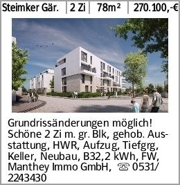 Steimker Gär. 2 Zi 78m² 270.100,-€ Grundrissänderungen möglich! Schöne...