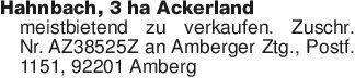 Hahnbach, 3 ha Ackerlandmeistb...