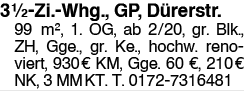 3,5 Zi.Whg. GP Dürerstr.